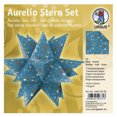 "Ursus Aurelio Stern Set Faltblätter 14,8 x 14,8 cm - ""Winterzauber"" petrol/braun  Transparentpapier (34405500)"