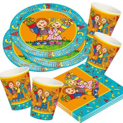 52 teiliges Party-Set Einschulung - Schulanfang - Teller, Becher, Servietten für 16 Kinder