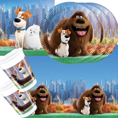 37- teiliges Party-Set - Secret Life of Pets - Teller Becher Servietten Tischdecke für 8 Kinder