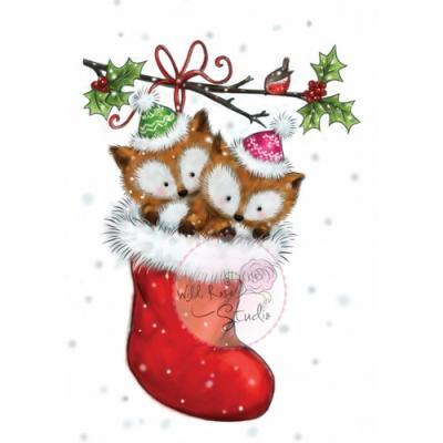 Wild Rose Studio CL499 Stempel clear stamp Foxes in stocking  - Füchse im Strumpf