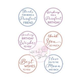Wild Rose Studio CL495 Stempel clear stamp Cat and Moon Greetings - Grüße