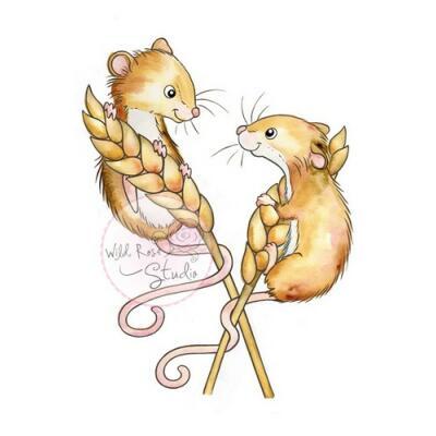 Wild Rose Studio CL493 Stempel clear stamp Harvest Mice - Ernte-Mäuse