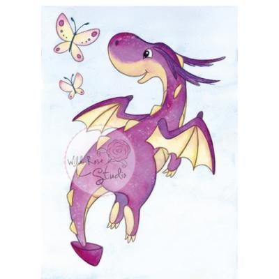 Wild Rose Studio CL487 Stempel clear stamp Dragon Flying