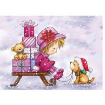 Wild Rose Studio CL462 Stempel clear stamp Girl on Sleigh