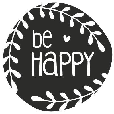 HEYDA  Stempel aus Holz, rund  - be Happy  (20)