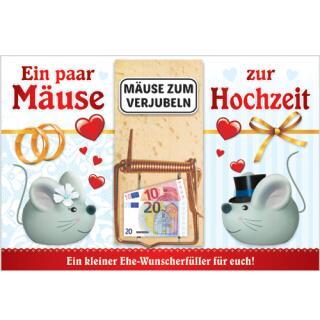 Klappkarte mit Mausefalle als Geldgeschenk - Mäuse zur Hochzeit