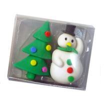 Radierer Weihnachten Schneemann und Weihnachtsbaum