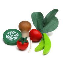 Erzi 28214 Gemüsesnack in der Dose Tomate, Radieschen, Gurkenscheibe, Champignon, Zuckerschoten Kaufladenzubehör
