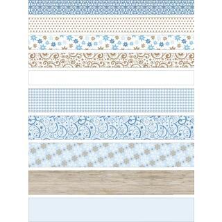 Ursus Faltstreifen Fröbelsterne (3473) weiß/blau/braun  60 Streifen für 15 Sterne