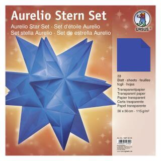 Ursus Aurelio Stern Set Faltblätter Transparentpapier blau 15 x 15 cm (15875534)