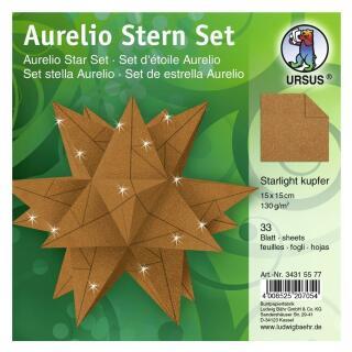 Ursus Aurelio Stern Set Faltblätter Starlight kupfer matt (34315577) 15 x 15 cm -  veredelt mit Metallic-Effekt