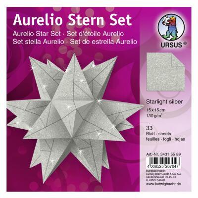 Ursus Aurelio Stern Set Faltblätter Starlight silber matt (34315588) 15 x 15 cm -  veredelt mit Metallic-Effekt