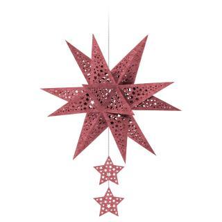"Ursus Modena - Stern Set ""Stars"" rot weinrot 35,5 cm Metallic-Effekt (34640000)"