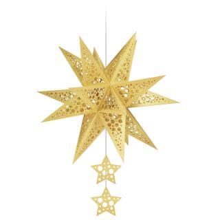 "Ursus Modena - Stern Set Mini ""Dots"" gold  25 cm (2 Sterne) Metallic-Effekt (34570000)"