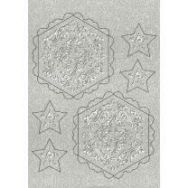 """Ursus Silhouetten - Stern Set """"Orient"""" silber  40 cm  Metallic-Effekt (33920000) Weihnachtsstern"""