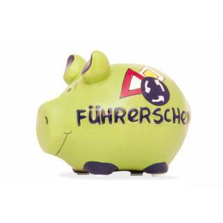 KCG Kleinschwein Keramik Sparschwein - Führerschein -  ca. 12 cm x 9 cm