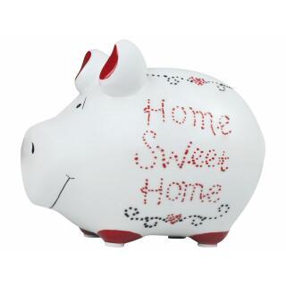 KCG Kleinschwein Keramik Sparschwein - Home sweet home -  ca. 12 cm x 9 cm