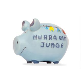 KCG Kleinschwein Keramik Sparschwein - Hurra ein Junge -  ca. 12 cm x 9 cm
