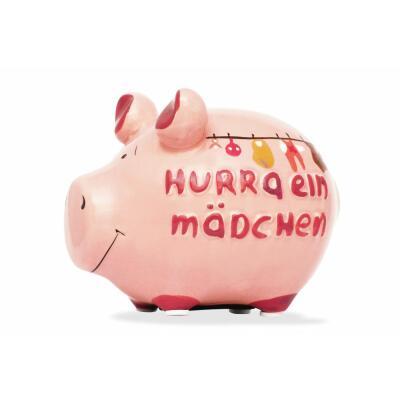 KCG Kleinschwein Keramik Sparschwein - Hurra ein Mädchen -  ca. 12 cm x 9 cm