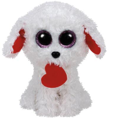 Ty Beanie Boos  Hund mit Herz Honey Bun weiß 15 cm