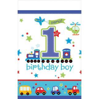 39-teiliges Party-Set 1. Geburtstag Junge birthday boy Autos  - Teller Becher Servietten Tischdecke Luftballons