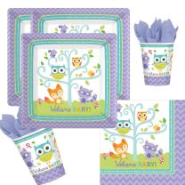 32-teiliges Party-Set Welcome Baby Waldtiere Eule Fuchs -...