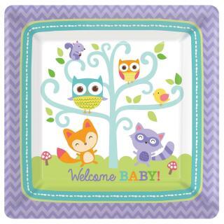 32-teiliges Party-Set Welcome Baby Waldtiere Eule Fuchs - Teller Becher Servi...