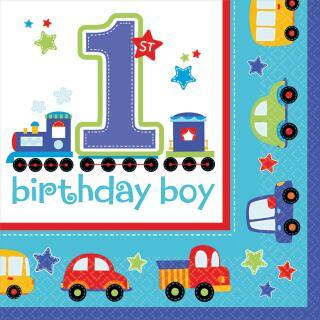 32-teiliges Party-Set 1. Geburtstag Junge birthday boy Autos - Teller Becher Servietten
