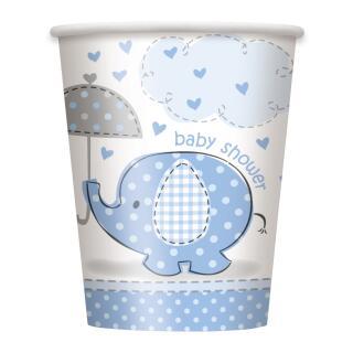 57-teiliges Party Set Baby Elefant blau - Babyparty - Teller, Becher, Servietten, Tischdecke, Luftballons für 16 Personen