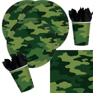 32-teiliges Party-Set Camouflage - Teller Becher Servietten für 8 Personen