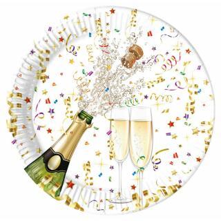 36-teiliges Party-Set Silvester - Sektflasche - Teller Becher Servietten für 8 Personen