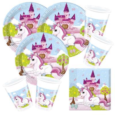 52-teiliges Party-Set Einhorn (Procos) - Unicorn - Teller Becher Servietten für 16 Kinder
