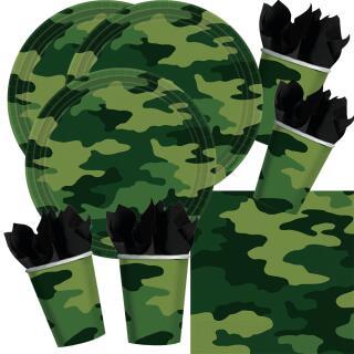 48-teiliges Party-Set Camouflage - Teller Becher Servietten für 16 Personen