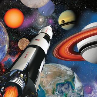 33-teiliges Party-Set Weltraum Expedition - Space Blast - Teller Becher Servietten Tischdecke für 8 Kinder