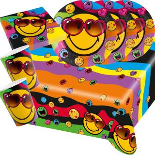 37-teiliges Party-Set Smiley Express Yourself - Teller Becher Servietten Tischecke für 8 Kinder/Personen