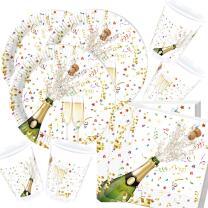 Silvester Party-Set - Sektflasche - Teller Becher Servietten für 16 Personen