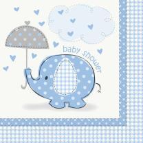 48-teiliges Party Set Baby Elefant blau - Babyparty - Teller, Becher, Servietten für 16 Personen