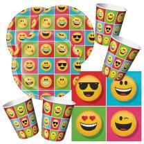 48-teiliges Party-Set Emojions - Teller Becher Servietten...