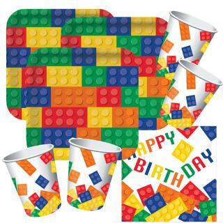 48-teiliges Party-Set Bausteine Happy Birthday - Teller Becher Servietten für...