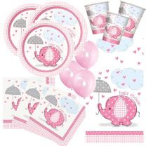 57-teiliges Party Set Baby Elefant rosa - Babyparty -...