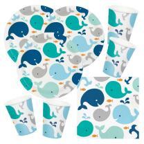 48-teiliges Party-Set Baby shower -  Kleiner Wal blau...
