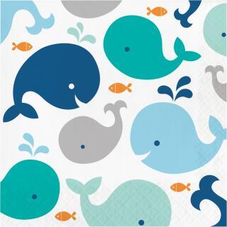 48-teiliges Party-Set Baby shower -  Kleiner Wal blau Teller Becher Servietten für 16 Personen