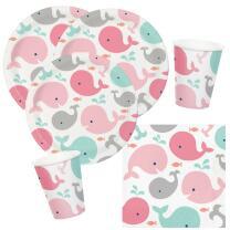 32-teiliges Party-Set Baby shower -  Kleiner Wal rosa...