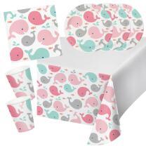 33-teiliges Party-Set Baby shower -  Kleiner Wal rosa...
