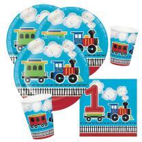 32-teiliges Party-Set 1. Geburtstag Eisenbahn - Teller...
