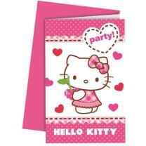 Hello Kitty Hearts Einladungskarten mit Umschlag, 6...