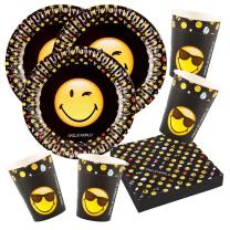 52-teiliges Party-Set Smiley Emoticons - Teller Becher...
