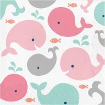 Baby Party Baby shower -  Kleiner Wal rosa - Servietten,...