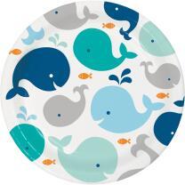 Baby Party Baby shower -  Kleiner Wal blau -  Teller, 8...