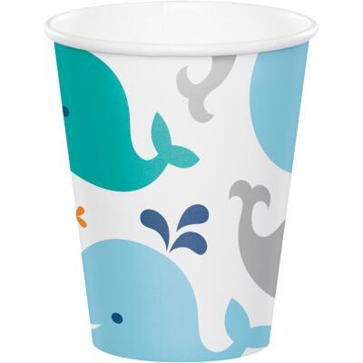 Baby Party Baby shower -  Kleiner Wal blau -  Becher, 8 Stück,  0,25 l